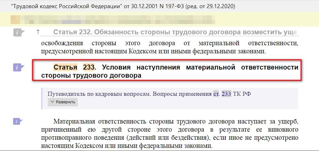 статья 233 ТК РФ скрин